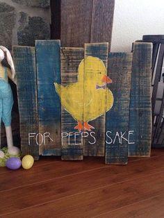For Peeps Sake Easter Pallet Sign by TeedumTeedee on Etsy