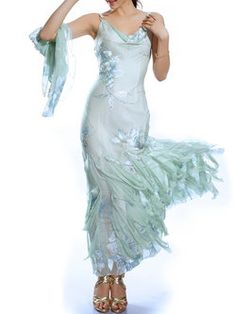 Light Green Floral Silk Spaghetti Sheath Maxi Dress