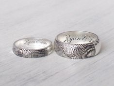 20% OFF Set of 2 Actual Fingerprint Rings by GracePersonalized