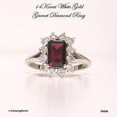 14K White Gold #Garnet #Diamond #Ring #Vintage by AntiquingOnLine at https://www.etsy.com/listing/169396642/14k-white-gold-garnet-diamond-ring