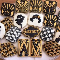 Great Gatsby themed Casino night cookies by Mama Rey's Cookies Roaring 20s Party, Gatsby Themed Party, 1920s Party, Gatsby Wedding, Crazy Cookies, Cute Cookies, Sugar Cookies, 40th Birthday Cakes, Birthday Party Themes
