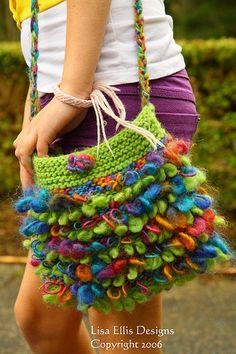 Lisa Ellis Designs Funky Fringe Purse Pattern - Knitting and crochet yarn, patterns, knitting bags, needles and notions. Crochet Purse Patterns, Crochet Purses, Knitting Patterns Free, Free Knitting, Crochet Bags, Weaving Patterns, Knitting Ideas, Stitch Patterns, Free Pattern