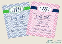 Preppy Monogram Baby Shower Invitation by GlitterPrints on Etsy, $7.00