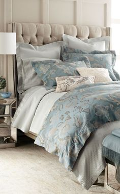 Sferra Luxury Bedding #bedroom - we love duck egg blue - makes a stunning theme for any room...x