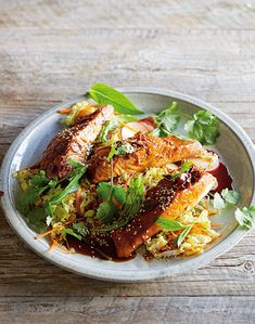 Healthy recipes for high blood pressure -  Caramel ginger salmon with Vietnamese coleslaw