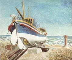 "1938 ~ ""The Lifeboat"" ....  Watercolour by Eric Ravilious (1903-1942), English Painter, Designer, Book Illustrator, Engraver & War Artist, lost in Action off the Coast of Iceland ...."