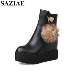 ==> [Free Shipping] Buy Best [SAZIAE]Spring/Autumn Fashion Boots Platform Shoes Woman Ankle High Wedges Boots Fur Plush High Quality Female Shoes Women Boots Online with LOWEST Price | 32724372037