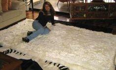Original from Peru, white baby alpaca fur rug