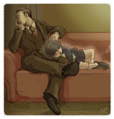 Mycroft and Little Sherlock - Alone with the Memory.This is high on the list of things that aren't okay.
