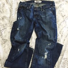 ONE DAY SALE Destroyed Bootcut Jeans Size 2L. Good condition. Emma style Abercrombie & Fitch Jeans Boot Cut
