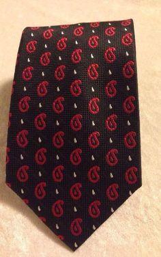 "JOS. A. BANK Hand Made 100% Silk Tie Men's 57"" Black Red Paisley Necktie Italy #JosABank #NeckTie"