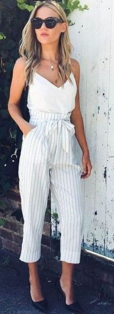 #winter #outfits white and gray striped spaghetti-strap jumpsuit