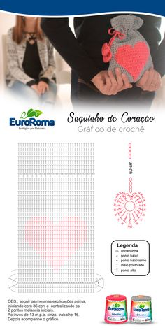 Saquinho de Coração em crochê, produzido com o barbante ecológico EuroRoma 4/6 na cor Cinza e Melancia. Ótima opção para presentear.