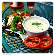 #Healthy #lunch: cold cucumber dill #soup and #salad with Dallas #Mozzarella Co. and #tomatoes with balsamic vinegar.  @ Cafe Lago