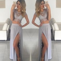 Long prom dresses,2 pieces Prom Dress,New Arrival Sexy Two Piece Grey Evening Dress,2 Pieces Prom Dress,slit Prom Dresses