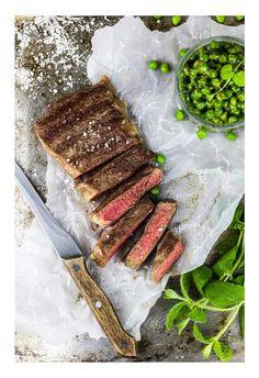 Steak & minted peas