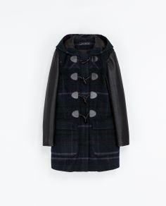 ZARA - WOMAN - CHECKED DUFFEL COAT WITH LEATHER SLEEVES