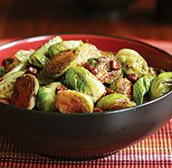 Balsamic Glazed Brussels Sprouts with Pancetta- Sooo delicious. One of my favorite sides ever.