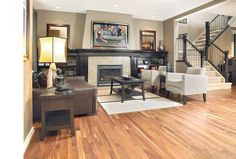 Mirage Floors, the world's finest and best hardwood floors. www.miragefloors.com #Mirage #Hardwood #Floor #American #Walnut #Natural #Living #Room