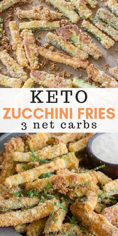 These Crispy Zucchini Fries are breaded with almond flour, parmesan and spices a. These Crispy Zucchini Fries are breaded with almond flour, parmesan and spices and baked until perfectly crispy! The perfect keto, low carb side dish! Zucchini Side Dishes, Low Carb Side Dishes, Side Dish Recipes, Low Carb Recipes, Diet Recipes, Healthy Recipes, Supper Recipes, Tofu Recipes, Lunch Recipes