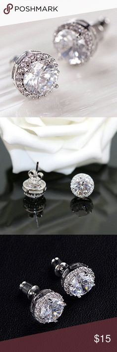"""the halo cz stud earring • style name: the halo cz stud earring • color: silver • material: cubic zirconia, metal alloy • large round cz stone earrings w/ a halo of smaller stones surrounding • approx. .31"""" across • condition: brand new boutique item ____________________________________________________ ✅ make an offer!     ✅ i bundle! ✅ posh compliant closet ⛔️ no trades 🛍 boutique item on the edge boutique Jewelry Earrings"""