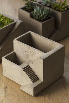 Vagabond Vintage Cement Architectural Plant Cube Planter II - Set of 2 Cement Art, Concrete Cement, Concrete Crafts, Concrete Projects, Concrete Design, Concrete Planters, Cement House, Garden Planters, Cement Garden