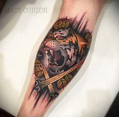 Tiger Tattoo Design by Matt Curzon Traditional Tattoo Man, Traditional Japanese Tattoos, Traditional Design, Piercing Tattoo, I Tattoo, Piercings, Tiger Tattoo Design, Tattoo Designs, Tattoo Ideas