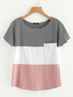 Sewing Blusas Shop Patch Pocket Front Cut And Sew T-shirt online. SheIn offers Patch Pocket Front Cut And Sew T-shirt Sewing Clothes Women, Dress Clothes For Women, Trendy Outfits, Cool Outfits, Fashion Outfits, Style Fashion, Mode Top, Blouse Designs, Dress Outfits