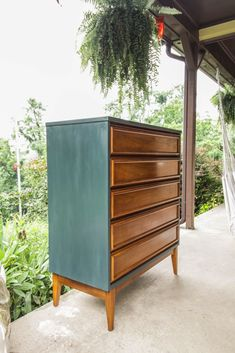 Furniture Makeover: Teal and Wood Midcentury Dresser Teal & Wood Dresser Makeover Dresser Refinish, Dresser Furniture, Refurbished Furniture, Cheap Furniture, Painted Furniture, Wood Dresser, Furniture Ideas, Teal Dresser, Furniture Websites