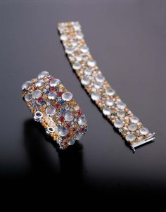 Zhaoyi colourless icy jadeite bracelets with coloured gemstones Jade Jewelry, Moonstone Jewelry, High Jewelry, Modern Jewelry, Gemstone Jewelry, Lotus Jewelry, Diamond Bracelets, Bangle Bracelets, Jade Bracelet
