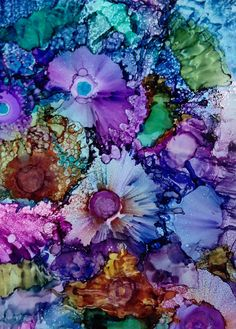 Alcohol Ink .Original abstract painting. Spring Bouquet