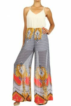 •#salediem #fashion #bottoms  #rompers #jumpsuits Damask scroll print, wide legged jumpsuit with spaghetti straps and a sweetheart neck.