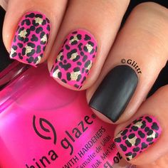 Nailpolis Museum of Nail Art | Hot pink matte leopard print by Glittr