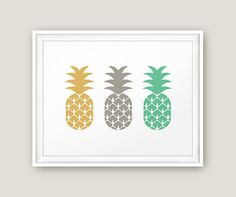 Pineapple Printable Kitchen Poster Fruit Print by MoonlightPrint