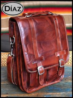 Medium Geunine Leather Messenger Satchel / Backpack by DiazBags, $285.00