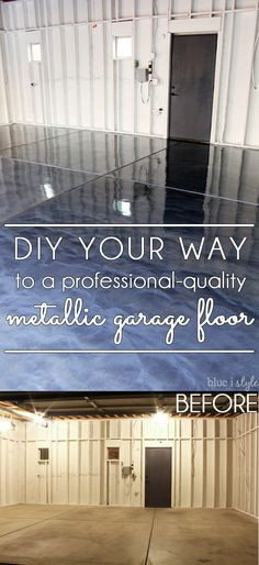 DIY metallic garage floor finish – gorgeous, functional, and more durable than paint or epoxy. Get all the how to details and a photo tutorial. Rust-Oleum RockSolid Metallic Floor Coating Source by summerlashaexo Garage Floor Finishes, Garage Floor Coatings, Epoxy Garage Floor Coating, Garage Epoxy, Rustoleum Garage Floor Epoxy, Garage House, Diy Garage, Garage Paint, Garage Ideas