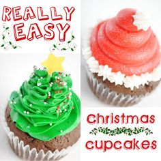 Something Swanky: desserts and designs.: Cupcakes - Really Easy Christmas Cupcakes : Santa hats & Christmas Trees