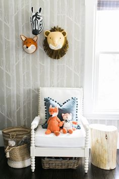 Project Nursery - Animal Heads and Woods Wallpaper in Colorful Playroom - Project Nursery Nursery Room, Boy Room, Nursery Decor, Kids Room, Nursery Ideas, Playroom Wall Decor, Playroom Design, Playroom Ideas, Toddler Playroom
