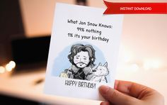 Funny Happy birthday - Birthday Card, Printable Birthday Card, Games of Thrones, Jon, Cute Birthday Card, Birthday Cards, Cake, Snow by WadaDesigns on Etsy
