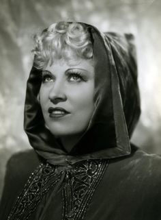 Mae West looking wonderful in a hood (I'm struck by how much she resembles Bette Midler here, or vice versa). #vintage #actresses
