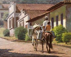 """""""Herdeiro da lida"""" de José Rosário Champs, Art Techniques, Landscape Paintings, Landscapes, South America, Art Projects, Street Art, Sketches, Horses"""