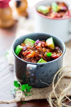 This paleo beef chili recipe is made easy in the slow cooker! Little prep needed. The slow cooker does the work. Hearty, healthy! Whole 30 friendly.