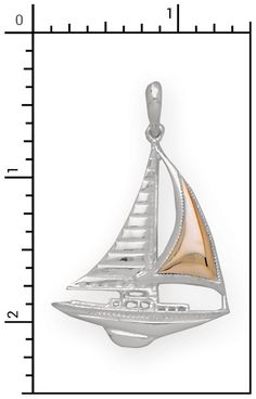 Nautical Jewelry - 14Kt./Sterling Silver Sloop Rig Sailboat Charm, All Sterling Silver & Sterling / 14Kt. Combo Items, 2-SGC046
