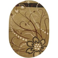 A floral pattern decorates this hand-tufted wool rug. Beige, brown, ivory, charcoal and tan hues accent this area rug.