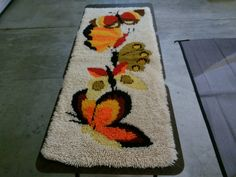 Butterfly hooked rug mid century groovy and hip by harvalou