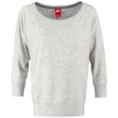 Nike Sportswear GYM VINTAGE Long sleeved top grey heather (1.595 RUB) ❤ liked on Polyvore