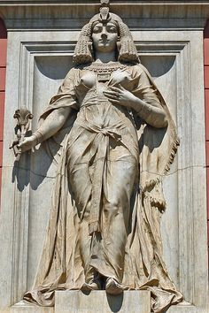 One of two female figures flanking the entrance to the Egyptian Museum in Cairo; given that the museum opened in she is probably supposed to be either Cleopatra or Isis Egyptian Queen, Ancient Egyptian Art, Ancient History, Art History, History Facts, Ancient Aliens, Queen Isis, Egyptian Mythology, Egyptian Goddess