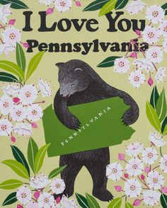 Our I Love You Pennsylvania Print celebrates the Keystone State with the official flower, the Mountain-laurel. Designed by Annie Galvin at 3 Fish Studios in San Francisco, California, and printed on-site in the Outer Sunset with 8-color UltraChrome K3™ inks on 300 gsm Hot Press Bright paper. Archival, highest possible quality.