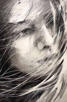 Ewa Hauton oil on canvas L'art Du Portrait, Portrait Sketches, Graphite Art, Blood Art, Unusual Art, Illustration, Sketch Painting, True Art, Arte Pop