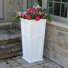 Amazon.com: Mayne Inc. 4843 Cape Cod Square Tall Planter Color: White: Patio, Lawn & Garden